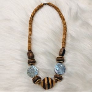 Vintage Wooden & Crushed Mother of Pearl necklace
